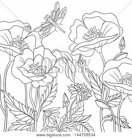Stylized dragonfly and poppy flowers. Freehand sketch for adult anti stress coloring book page with doodle and zentangle elements.