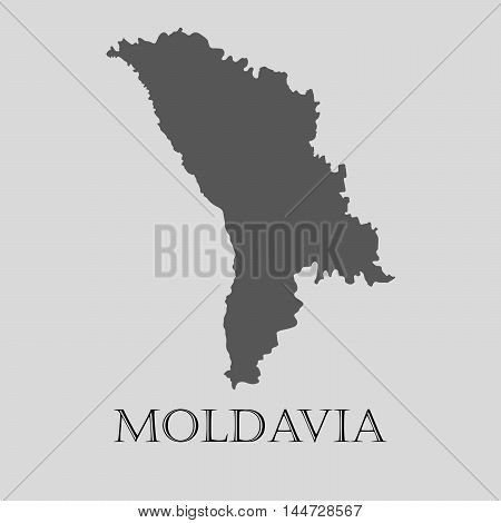 Gray Moldavia map on light grey background. Gray Moldavia map - vector illustration.