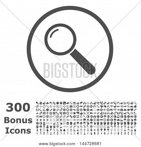 Magnifier rounded icon with 300 bonus icons. Vector illustration style is flat iconic symbols, gray color, white background.