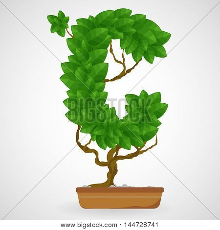 Letter C. Tree in the pot. Vector alphabet letters made from green leaves.