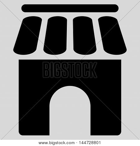 Shop Building icon. Glyph style is flat iconic symbol, black color, light gray background.