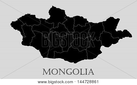 Black Mongolia map on light grey background. Black Mongolia map - vector illustration.