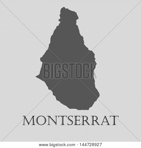 Gray Montserrat map on light grey background. Gray Montserrat map - vector illustration.