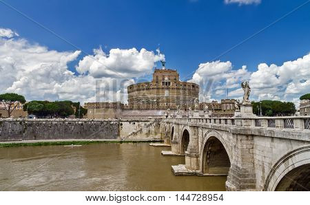 bridge of Sant'angelo and the castle in Rome
