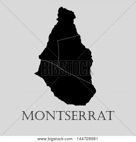 Black Montserrat map on light grey background. Black Montserrat map - vector illustration.
