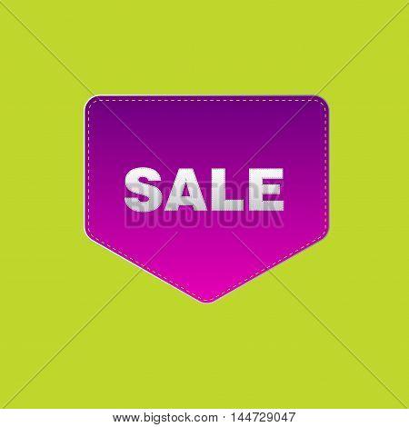 Purple Sale design on a lime background. Sticker. Pocket.