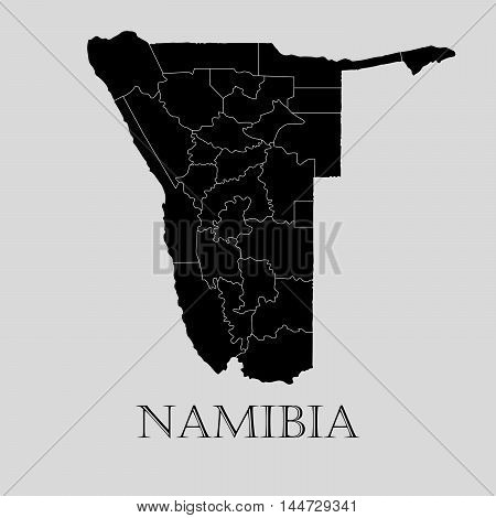 Black Namibia map on light grey background. Black Namibia map - vector illustration.