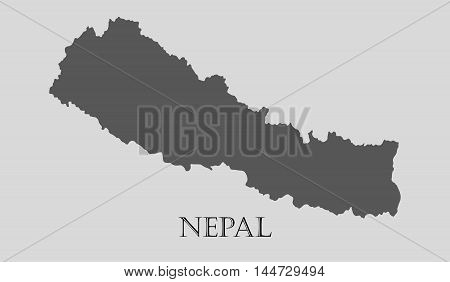 Gray Nepal map on light grey background. Gray Nepal map - vector illustration.
