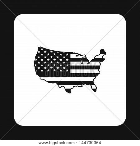 USA map icon in simple style isolated on white background. State and territory symbol