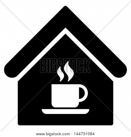 Cafe House icon. Glyph style is flat iconic symbol, black color, white background.