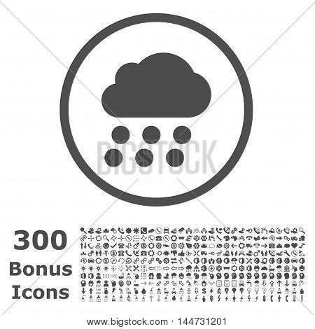 Rain Cloud rounded icon with 300 bonus icons. Vector illustration style is flat iconic symbols, gray color, white background.