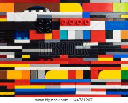 Random Colorful plastics toy block stacked texture.