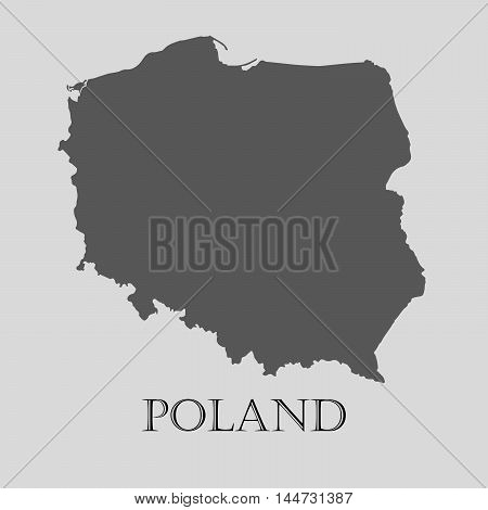 Gray Poland map on light grey background. Gray Poland map - vector illustration.