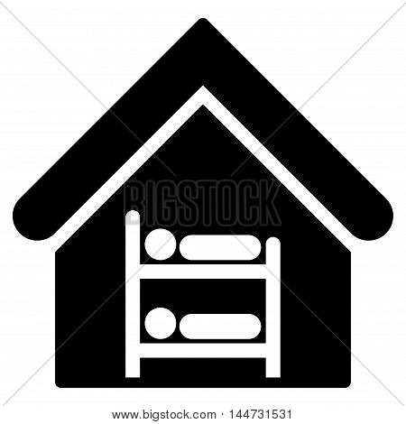 Hostel icon. Glyph style is flat iconic symbol, black color, white background.