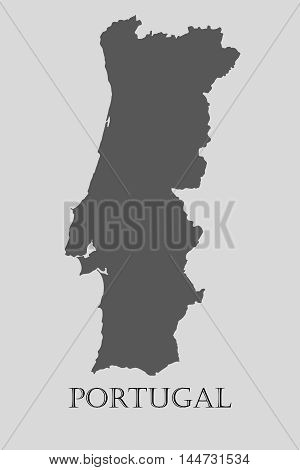 Gray Portugal map on light grey background. Gray Portugal map - vector illustration.