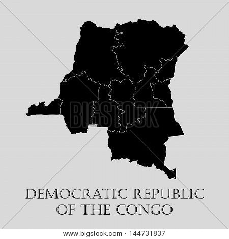 Black Congo map on light grey background. Black Congo map - vector illustration.