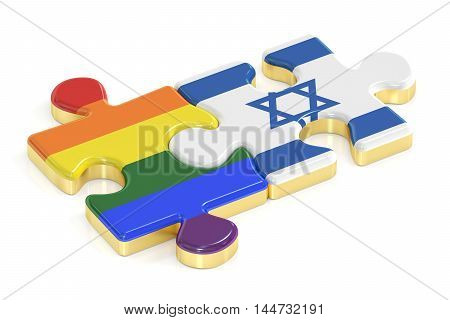 Gay Pride Rainbow and Israel puzzles from flags 3D rendering