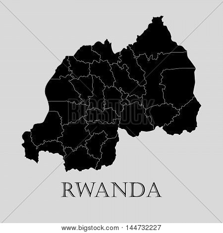 Black Rwanda map on light grey background. Black Rwanda map - vector illustration.