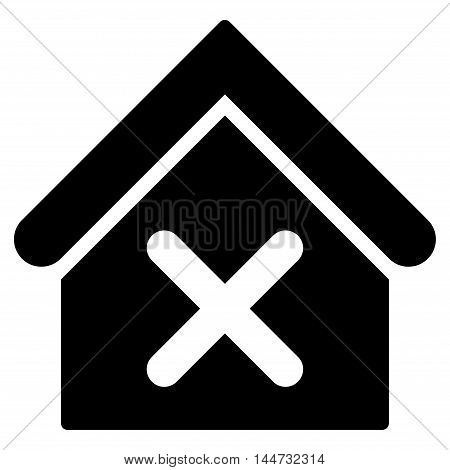 Wrong House icon. Glyph style is flat iconic symbol, black color, white background.