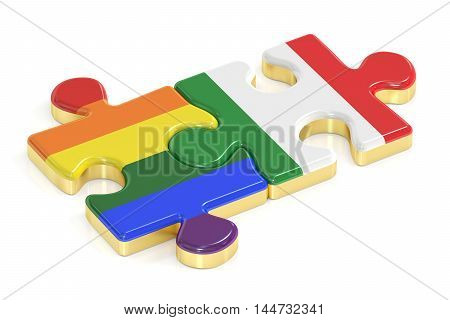Gay Pride Rainbow and Italy puzzles from flags 3D rendering