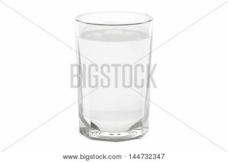 Glass with water or vodka 3D rendering isolated on white background