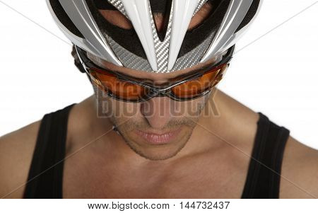 Portrait of a man with bycicle helmet