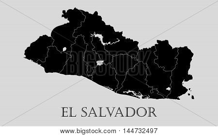 Black El Salvador map on light grey background. Black El Salvador map - vector illustration.