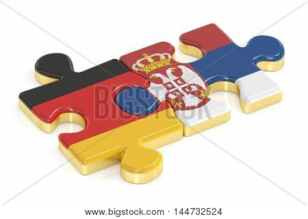 Serbia and Germany puzzles from flags 3D rendering