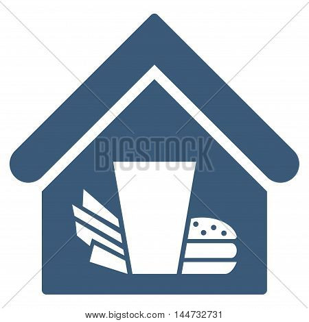 Fastfood Cafe icon. Glyph style is flat iconic symbol, blue color, white background.