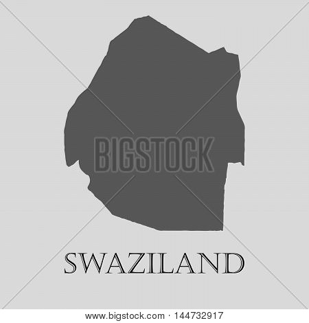 Gray Swaziland map on light grey background. Gray Swaziland map - vector illustration.