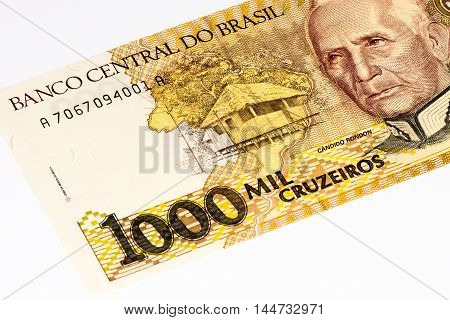 1000 Brasilian cruzeiro bank note. Cruzeiro is the former currency of Brasil