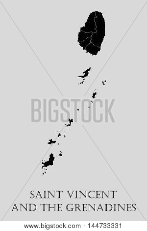 Black Saint Vincent and Grenadines map on light grey background. Saint Vincent and Grenadines map - vector illustration.