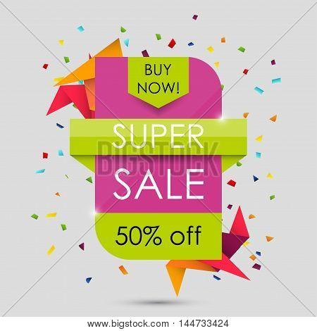 Super Sale Shining Banner. 50% Off