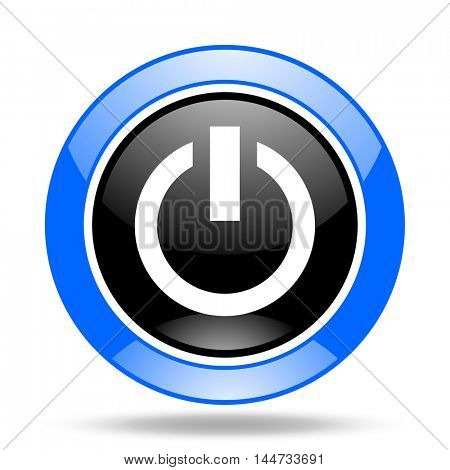 power round glossy blue and black web icon