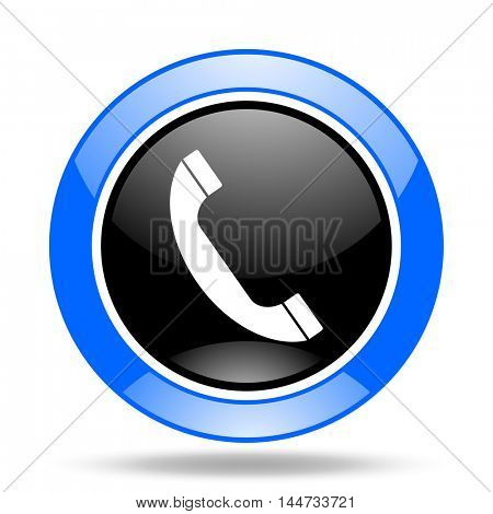 phone round glossy blue and black web icon
