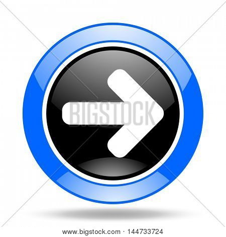 right arrow round glossy blue and black web icon