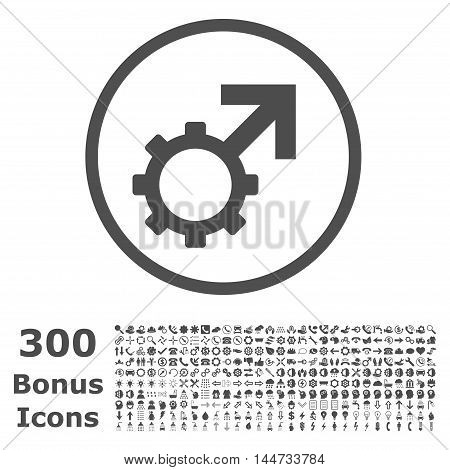 Technological Potence rounded icon with 300 bonus icons. Vector illustration style is flat iconic symbols, gray color, white background.