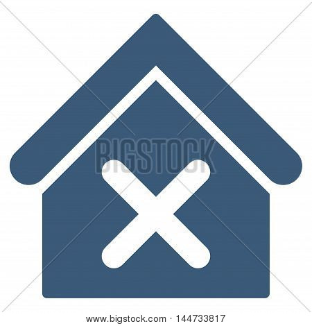 Wrong House icon. Glyph style is flat iconic symbol, blue color, white background.