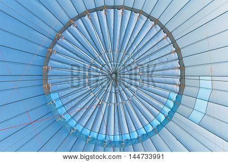 geometric abstract view inside a blue hot air balloon