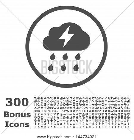 Thunderstorm rounded icon with 300 bonus icons. Vector illustration style is flat iconic symbols, gray color, white background.