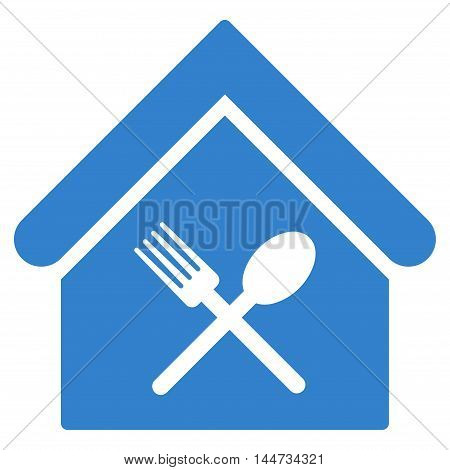 Food Court icon. Glyph style is flat iconic symbol, cobalt color, white background.