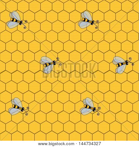Seamless pattern with bees on the background of honeycombs. The pattern for packing gifts, tiles fabrics backgrounds. Sample for the websites. Vector illustration