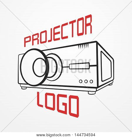 Abstract logotype made of typical projector in graphic silhouette style and sample text. Video vector stock image.