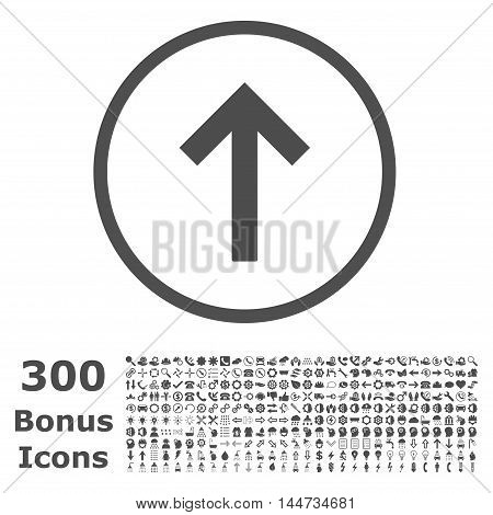 Up Arrow rounded icon with 300 bonus icons. Vector illustration style is flat iconic symbols, gray color, white background.