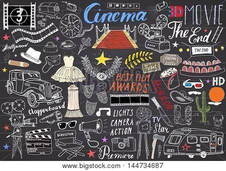 Cinema And Film Industry Set. Hand Drawn Sketch, Vector Illustration On Chalkboard