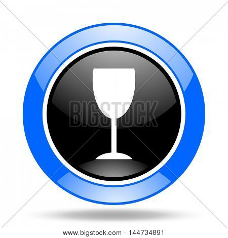 alcohol  round glossy blue and black web icon
