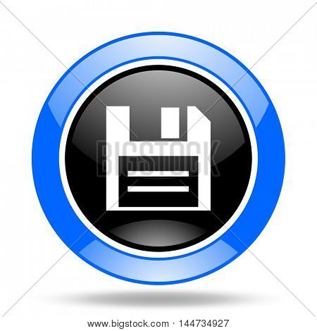 disk round glossy blue and black web icon