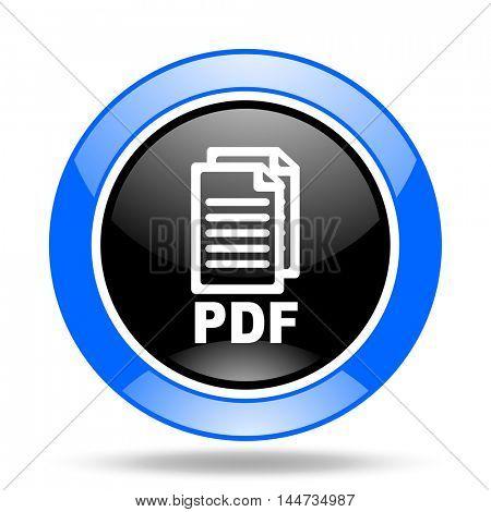 pdf round glossy blue and black web icon,