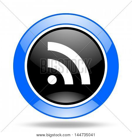 rss round glossy blue and black web icon
