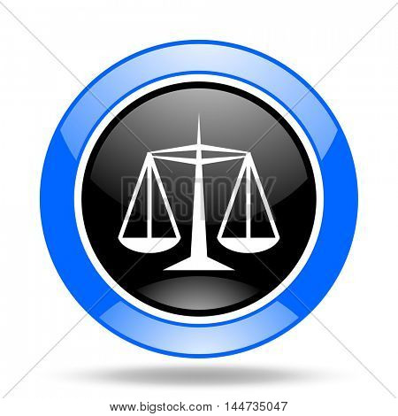 justice round glossy blue and black web icon